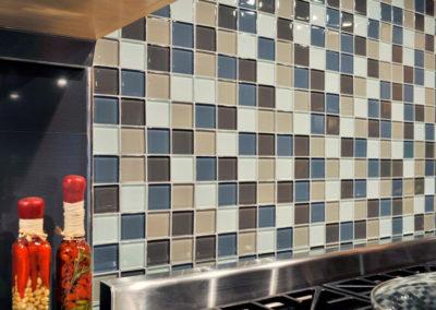 Beautiful multi-colored glass tile backsplash