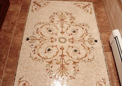 Beautiful custom mosaic floor tile insert