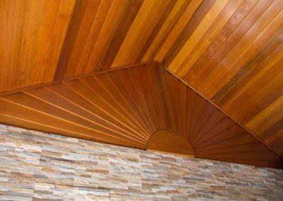 Clear cedar ceiling with sunburst design