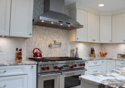 Stainless steel stove and range hood, subtle mixed white tone backsplash and multi tone grey tile insert