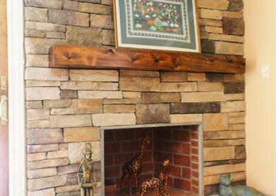 Beautiful finished wood beam mantle