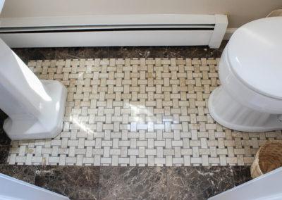 Tile floor with basket weave insert