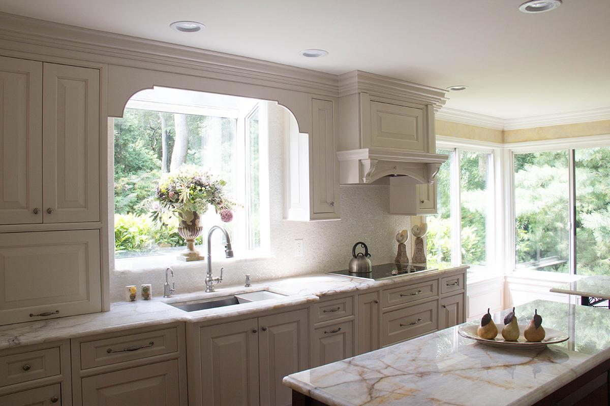 white classic kitchen. Bright white classic kitchen with quartzite countertops Transitional White Kitchen  Evo Design Center