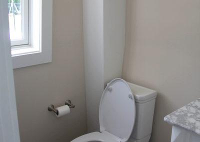 Porcher toilet and wood grain floor tile
