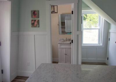 Bright white shaker panel wainscoting